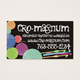 Colorful yarn balls crochet hooks business cards