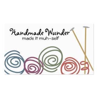colorful yarn balls knitting needles business c business cards