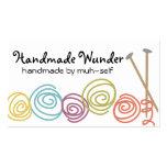 colorful yarn balls knitting needles business card