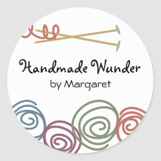 colorful yarn balls knitting needles gift tag s... classic round sticker