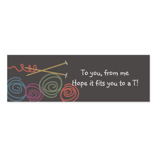 colorful yarn balls knitting needles gift tags Double-Sided mini business cards (Pack of 20)