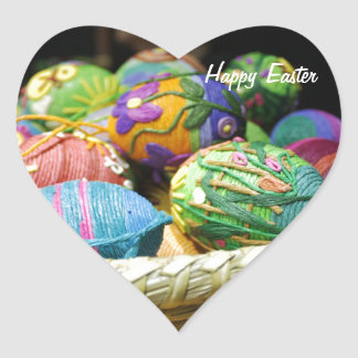 Colorful Yarn Decorated Easter Eggs Heart Sticker