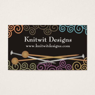 Colorful yarn knitting needles business cards