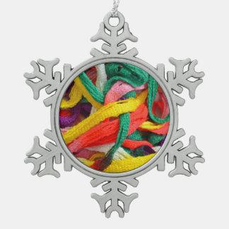 Colorful yarn pattern christmas ornament