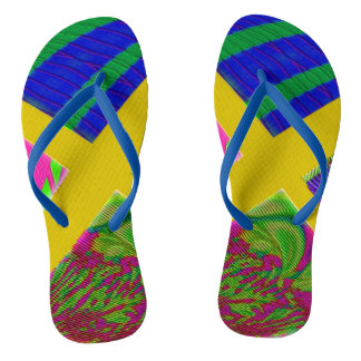 Colorful Yellow Abstract Flip Flops