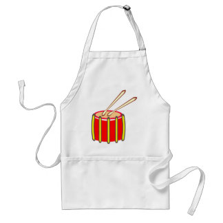 Colorful Yellow and Red Drum with Drumsticks Adult Apron