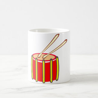 Colorful Yellow and Red Drum with Drumsticks Coffee Mug