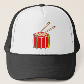Colorful Yellow and Red Drum with Drumsticks Trucker Hat