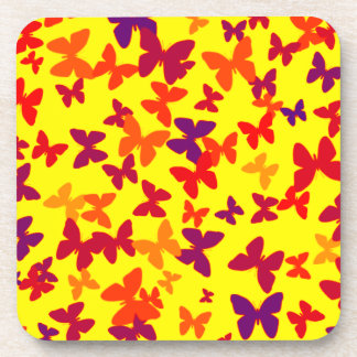 Colorful Yellow Butterflies Coaster
