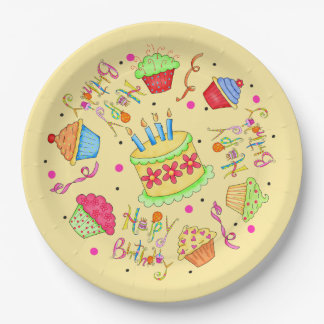 Colorful Yellow Cupcakes Cake Happy Birthday 9 Inch Paper Plate