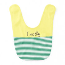 Colorful Yellow, Green and White Stripe Bib