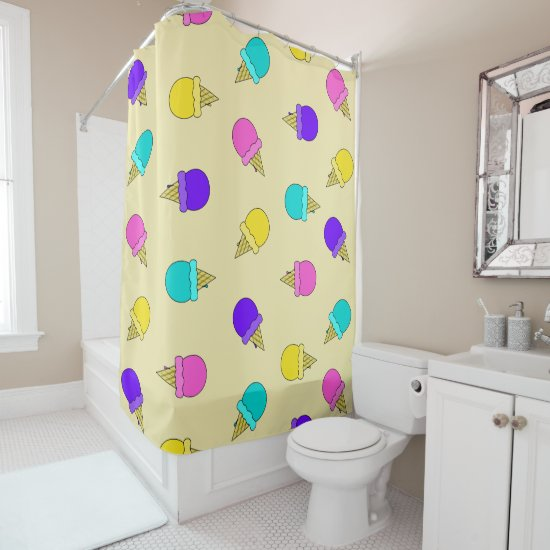 Colorful yellow ice cream cone shower curtain