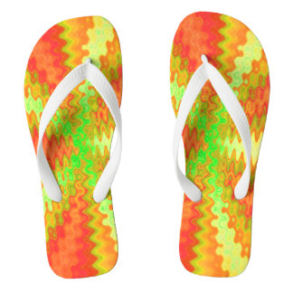 Colorful yellow orange groovy abstract flip flops