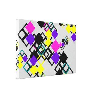 Colorful Yellow Purple Square Mix Pattern Canvas
