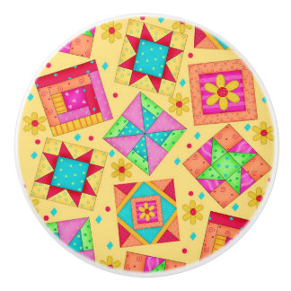 Colorful Yellow Quilt Patchwork Block Art Ceramic Knob