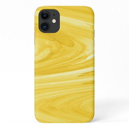 Colorful Yellow Watercolor Marble Swirl Pattern iPhone 11 Case