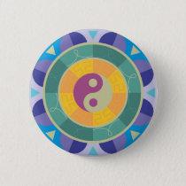 Colorful Yin Yang Pattern Pinback Button
