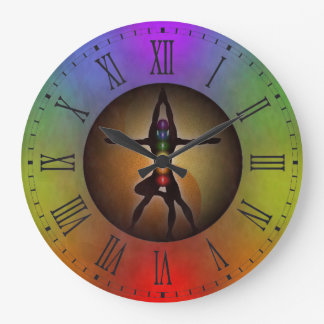 Colorful Yoga Chakras Yin Yang Grunge Large Round Large Clock