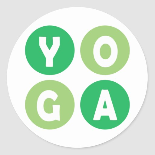 Colorful Yoga Lettering Round Sticker