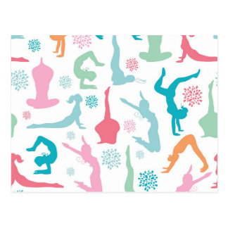 Colorful yoga poses pattern postcards
