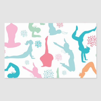 Colorful yoga poses pattern sticker