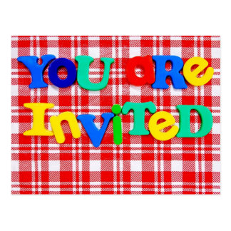 "Colorful ""You are Invited"" Postcard"