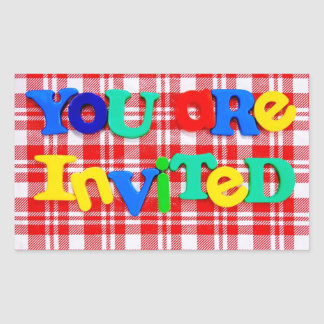 """Colorful """"You are Invited"""" Rectangular Sticker"""