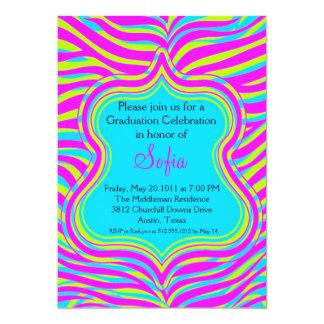 Colorful Zebra Graduation Invitation Custom Colors