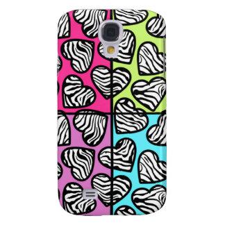 Colorful zebra hearts  samsung galaxy s4 case