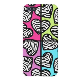 Colorful zebra hearts iPhone 4 case
