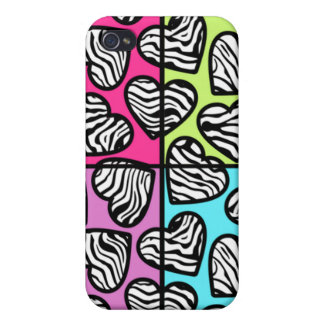 Colorful zebra hearts  case for iPhone 4