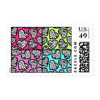 Colorful zebra hearts postage