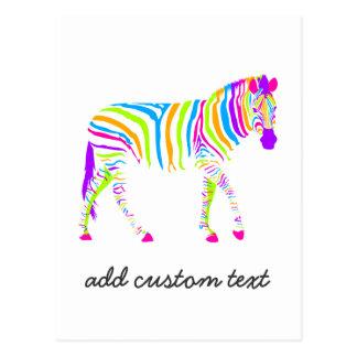 Colorful Zebra Postcard