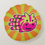 Hand shaped Colorful Zebra Round Pillow