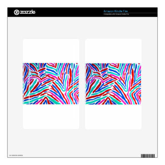 COLORFUL ZEBRA STRIPES DECAL FOR KINDLE FIRE