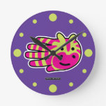 Hand shaped Colorful Zebra Stripes Round Clock