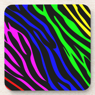 Colorful zebra texture coaster