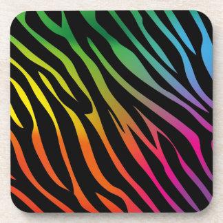 Colorful zebra texture drink coaster