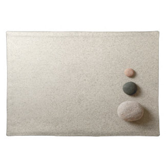 Colorful Zen Stones On Sand Background Cloth Placemat