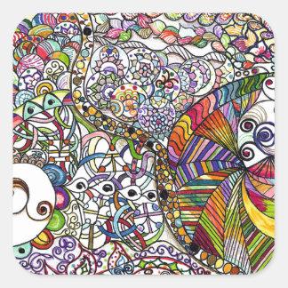 Colorful Zentangle Pattern Art Square Sticker