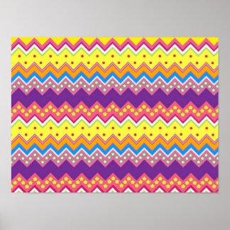 Colorful Zig Zag Stripes Chevron Pattern Poster