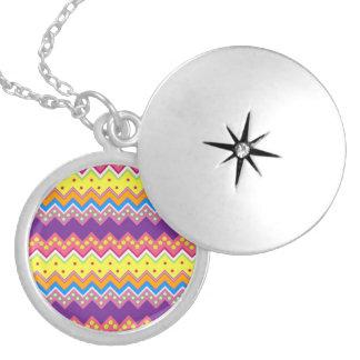 Colorful Zig Zag Stripes Chevron Pattern Round Locket Necklace