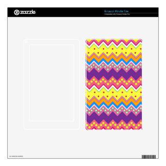 Colorful Zig Zag Stripes Chevron Pattern Kindle Fire Skins