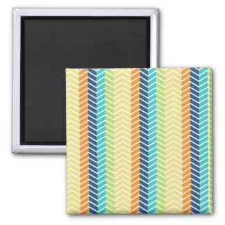 Colorful Zig Zag Stripes Pattern 2 Inch Square Magnet