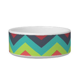 Colorful Zigzag Chevron Stripes Blue Red Yellow Bowl