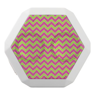 Colorful Zigzag Geometric in Pink and Green White Bluetooth Speaker