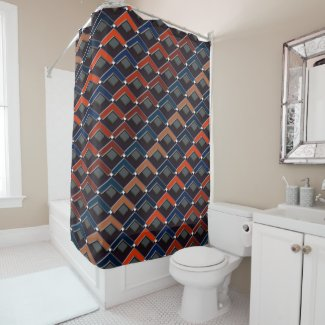 Colorful zigzag Karo-steps Shower Curtain