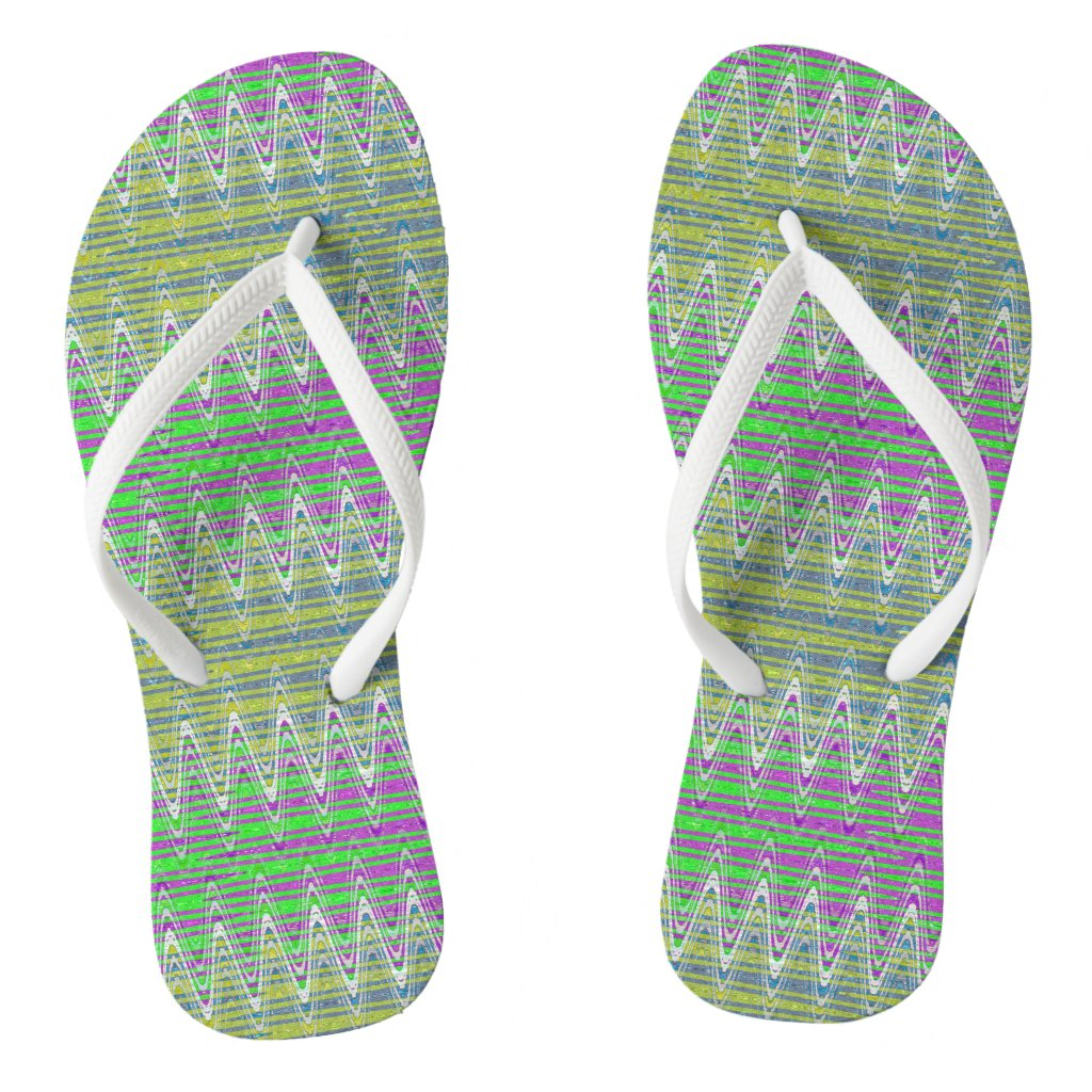 Colorful Zigzag Pattern Flip Flops