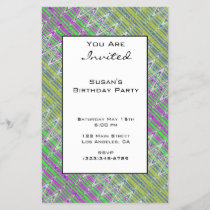 Colorful Zigzag Pattern Party Invitation