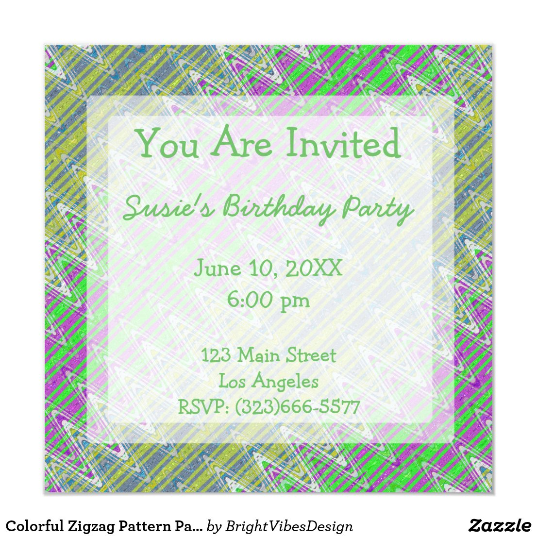 Colorful Zigzag Pattern Party Invites